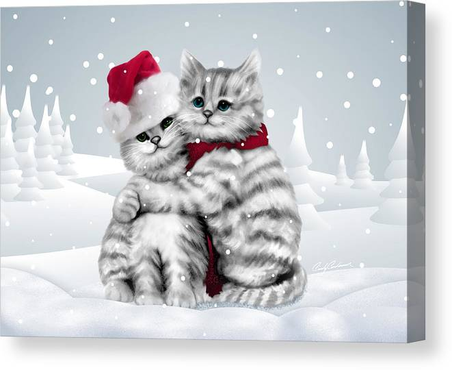 Kitten Canvas Print featuring the drawing Christmas Hug by Cindy Anderson
