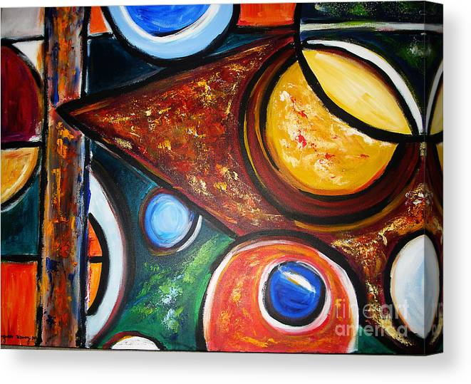 Abstract Painting Canvas Print featuring the painting Circles Of Life by Yael VanGruber