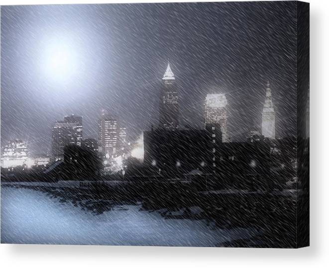 Cleveland Canvas Print featuring the photograph City Bathed In Winter by Kenneth Krolikowski