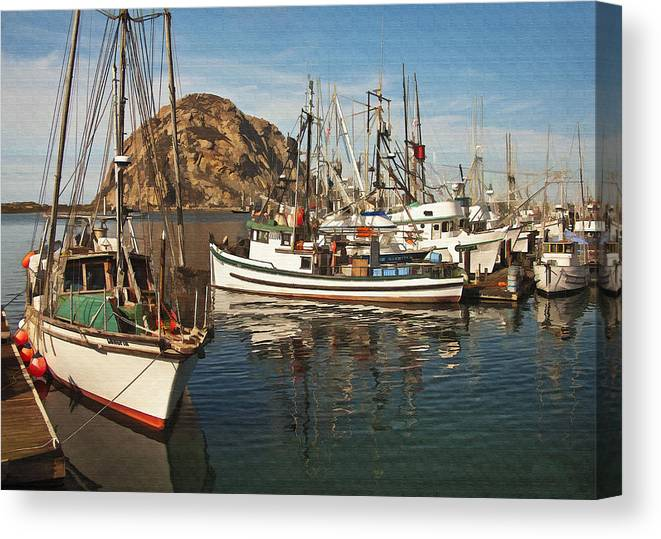 Morro Bay Canvas Print featuring the digital art Colorful Harbor by Sharon Foster
