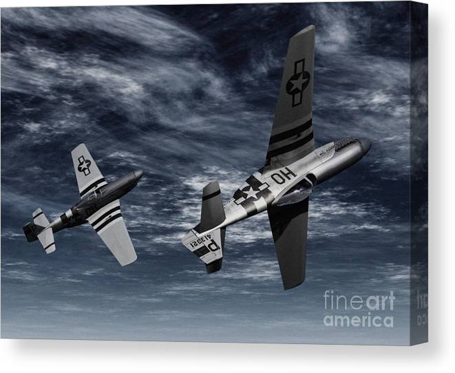 Aircombat Canvas Print featuring the digital art Defensive Split by Richard Rizzo