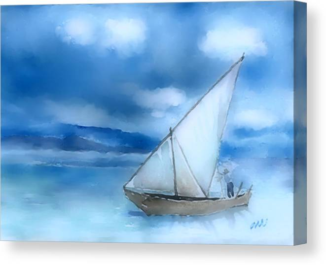 Dhow Canvas Print featuring the digital art Dhow Fishing Vessel by Arline Wagner