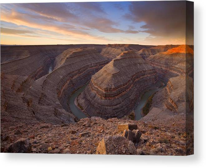Goosenecks State Park Canvas Print featuring the photograph Doubleback by Mike Dawson