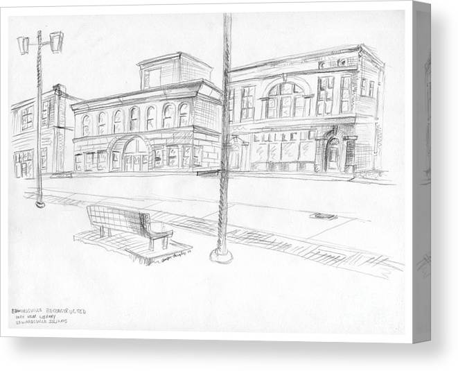 Structure Canvas Print featuring the drawing Edwardsville Reconstructed by Joseph A Langley