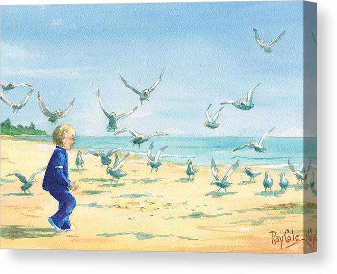 Boy On Beach Canvas Print featuring the painting Feeding Joy by Ray Cole