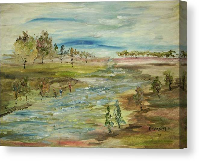Fishing In The Lower River Bottom Canvas Print featuring the painting Fishing The Bottom Land by Edward Wolverton