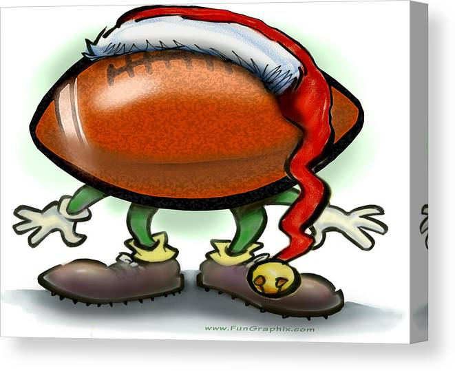 Football Canvas Print featuring the greeting card Football Christmas by Kevin Middleton