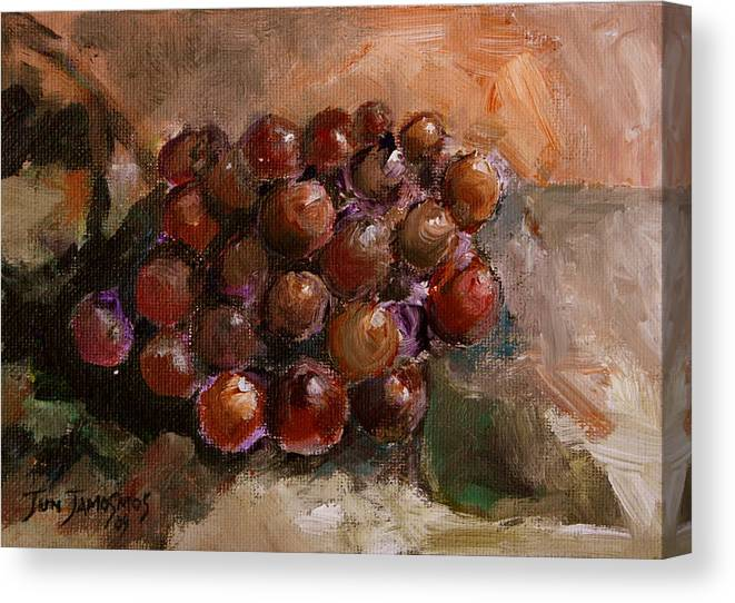 Grapes Canvas Print featuring the painting From The Vine by Jun Jamosmos