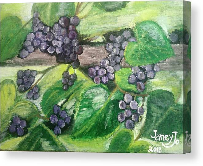 Grapes On The Vine Canvas Print featuring the painting Fruit On The Vine by Janey Longworth