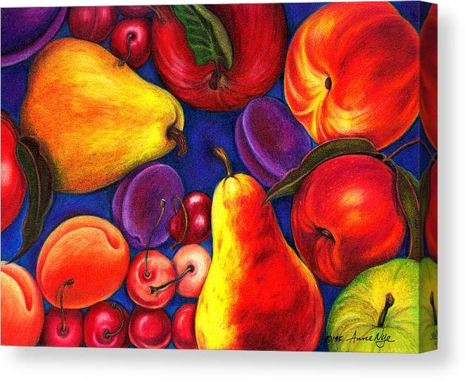 Fruit Canvas Print featuring the drawing Fruit Tumble by Anne Nye