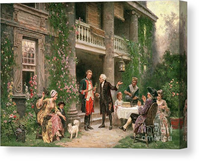 George Canvas Print featuring the painting George Washington At Bartrams Garden by Jean Leon Jerome Ferris