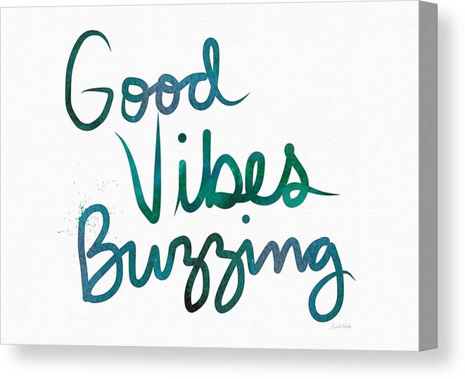 Good Vibes Canvas Print featuring the painting Good Vibes Buzzing- Art By Linda Woods by Linda Woods