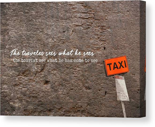 Quote Canvas Print featuring the photograph Grab A Cab Quote by JAMART Photography