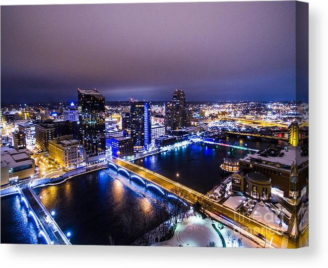 Grand Rapids Canvas Print featuring the photograph Grand Rapids At Night by Chris Long