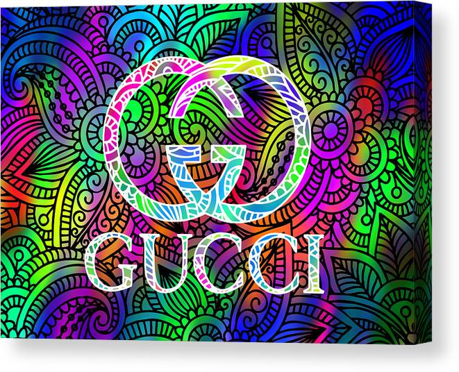 a0d0d8c0c545 Gucci Canvas Print featuring the digital art Gucci Multi Color With Pattern  Background by Ricky Barnard