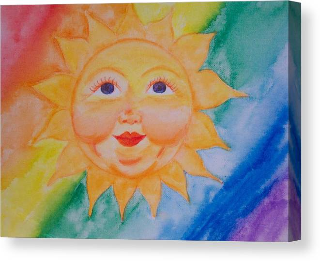 Sun Canvas Print featuring the painting Happy Sun by Jennifer Hernandez
