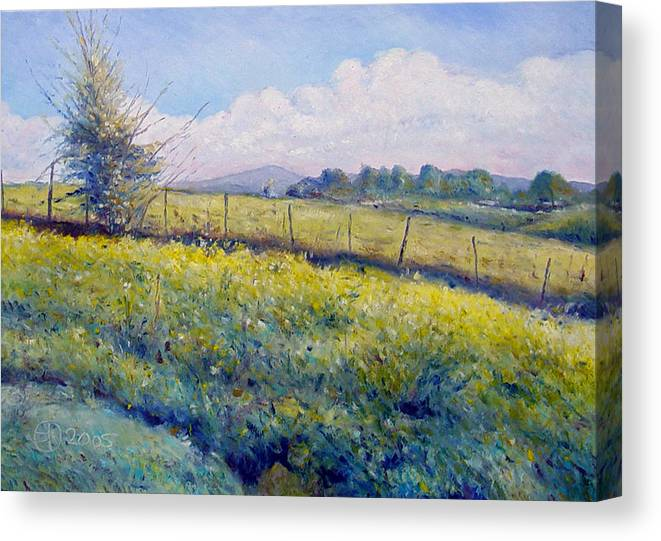 Italy Painting Canvas Print featuring the painting Hills Around Gavignano Italy 2005 by Enver Larney