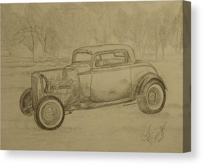 Antique Car Canvas Print featuring the painting Hotrod 1934 Ford Coupe by Cary Singewald