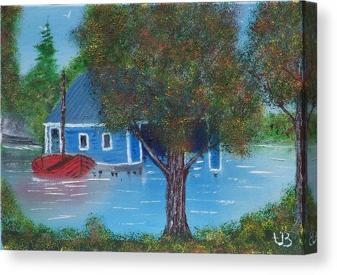 Boat Canvas Print featuring the painting Island Boathouse by Lawrence Booth