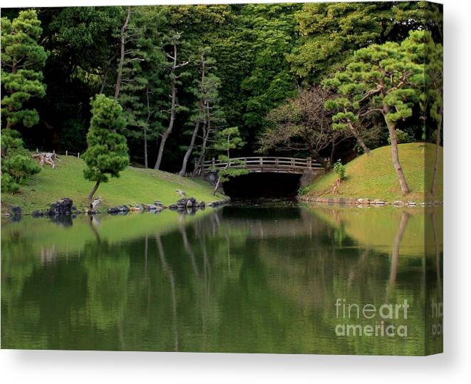 Japanese Bridge Canvas Print featuring the photograph Japanese Garden Bridge Reflection by Carol Groenen