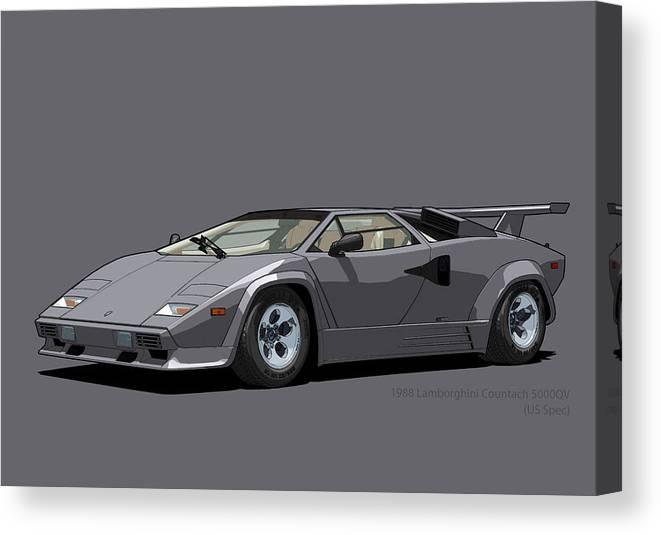 Lamborghini Countach 5000qv Canna Di Fucile Us Spec Canvas Print