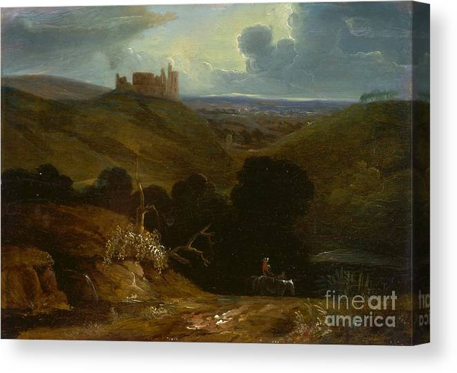 Landscape With A Castle - John Martin Canvas Print featuring the painting Landscape With A Castle by MotionAge Designs