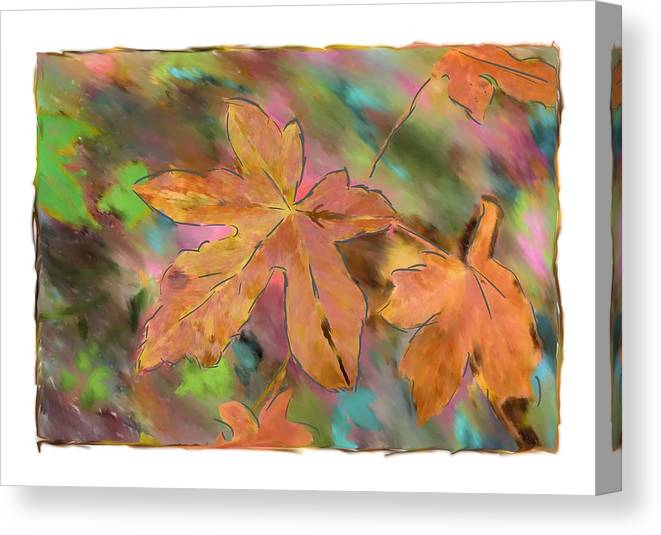 Abstract Digital Art Canvas Print featuring the photograph Last Of The Fall Leaves Abstract Digital Art by Sandy Belk