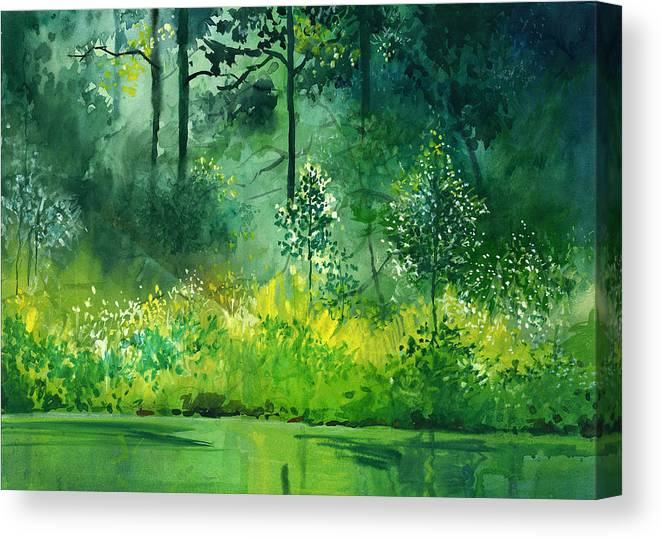 Water Canvas Print featuring the painting Light N Greens by Anil Nene