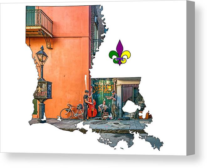 image regarding French Quarter Map Printable identified as Louisiana Map - The French Quarter Canvas Print