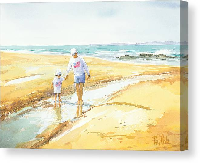 Grandma And Grandaughter Walking Canvas Print featuring the painting Mary And Sophia by Ray Cole