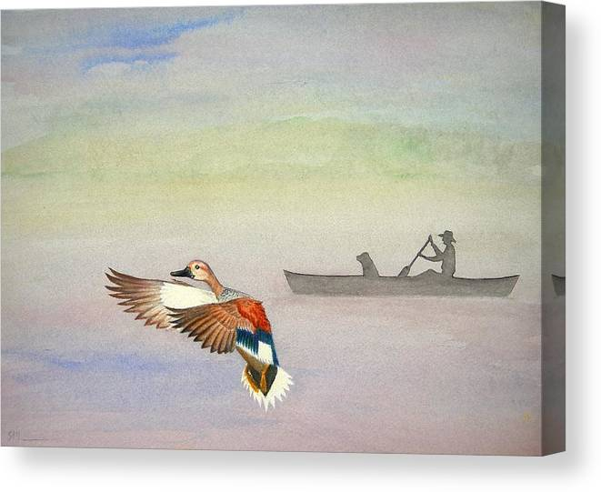 Duck Canvas Print featuring the painting Morning On The Refuge by Scott Manning
