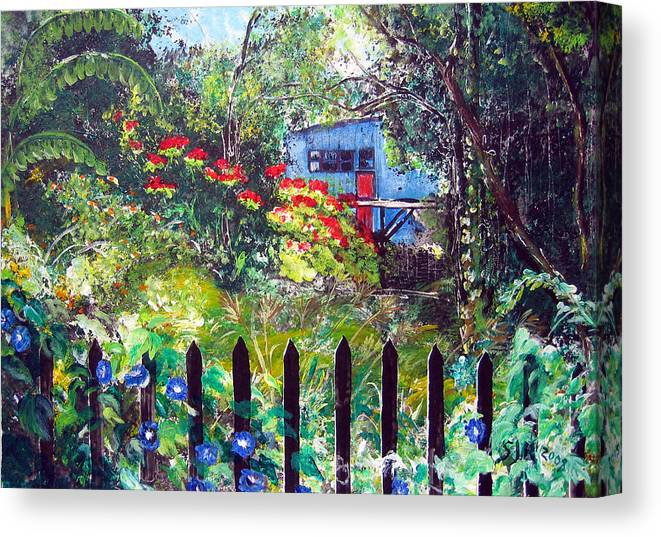 Landscape Canvas Print featuring the painting My Neighbors Garden by Sarah Hornsby