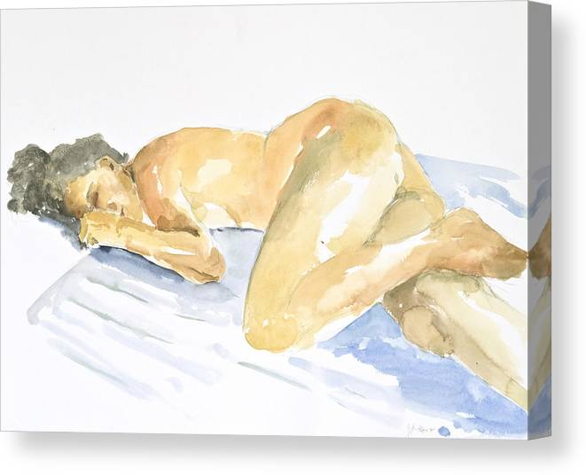 Sleeping Figure Canvas Print featuring the painting Nude Serie by Eugenia Picado