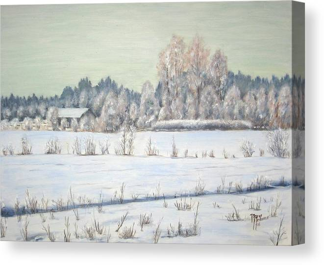 Winter Canvas Print featuring the painting Peace Of The Winter by Maren Jeskanen