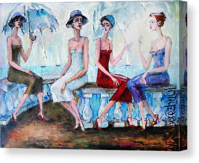 Pretty Canvas Print featuring the painting Pretty Girls by Oleg Poberezhnyi