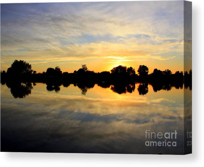 Yellow Canvas Print featuring the photograph Prosser Sunset - Blue And Gold by Carol Groenen
