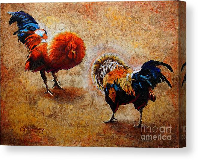 Roosters Paintings Canvas Print featuring the painting R O O S T E R S . S C E N E by J - O  N  E