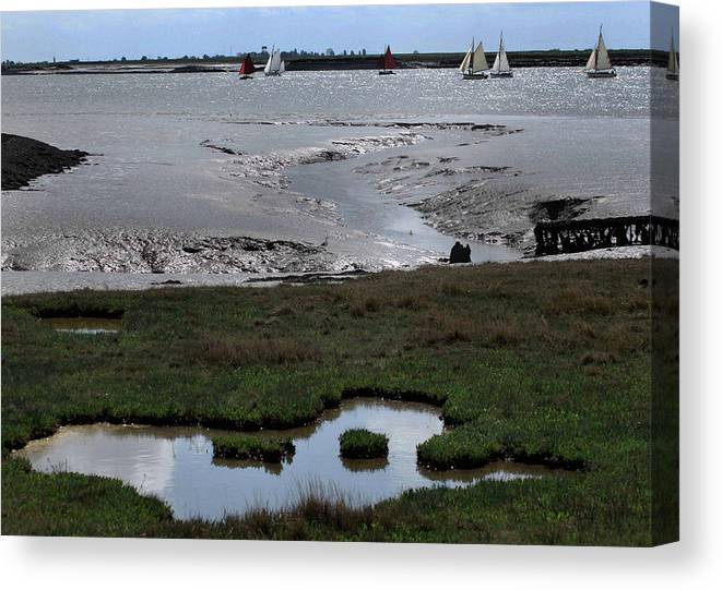 Sailing Canvas Print featuring the photograph Sailing At Low Tide by Terence Davis