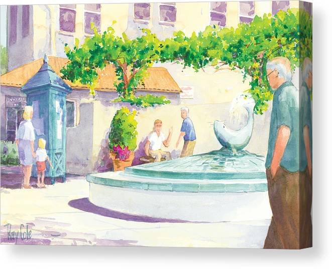 Landmark Canvas Print featuring the painting Seal Fountain by Ray Cole