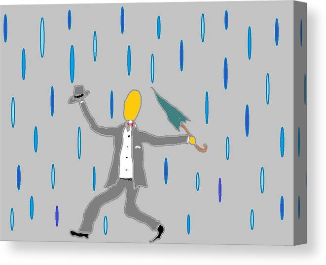 Canvas Print featuring the digital art Singin' In The Rain by Van Winslow