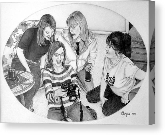 Canvas Print featuring the drawing Sisters by Colleen Marquis