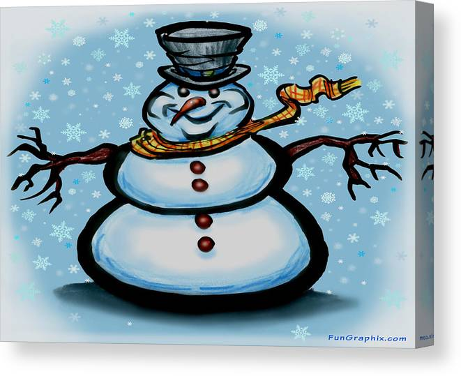 Snowman Canvas Print featuring the greeting card Snowman by Kevin Middleton