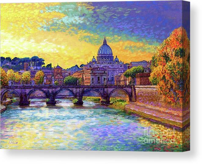 Italy Canvas Print featuring the painting St Angelo Bridge Ponte St Angelo Rome by Jane Small