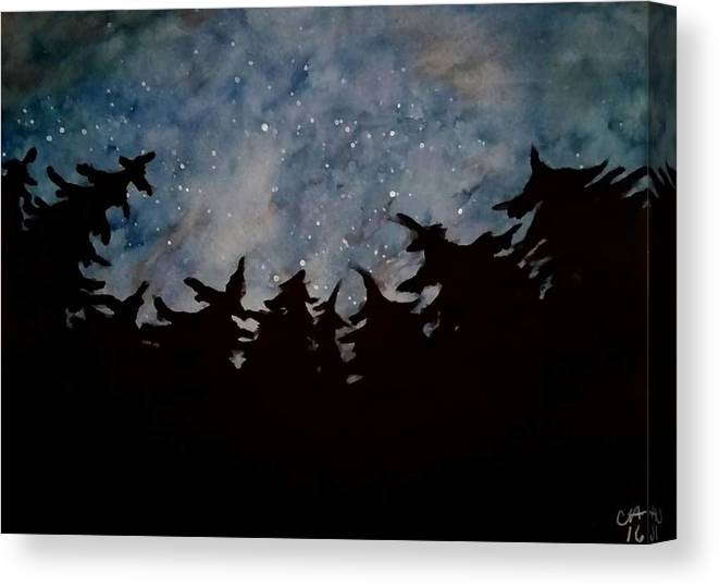 Galaxy Stars Woods Night Sky Canvas Print featuring the drawing Starry Sky by Carole Hutchison