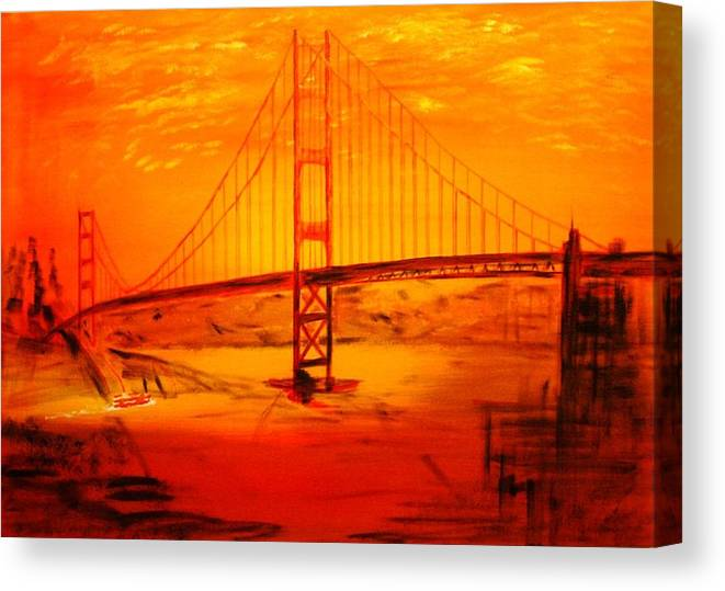 Sunset At Golden Gate Canvas Print featuring the painting Sunset At Golden Gate by Helmut Rottler