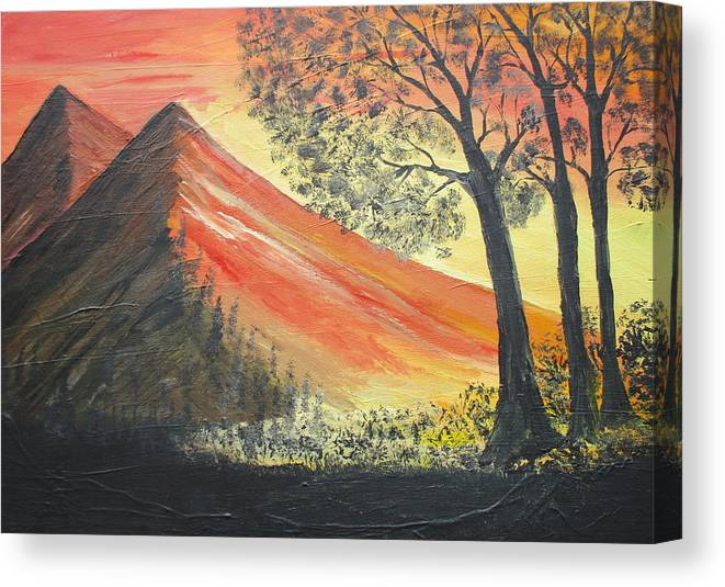 Sunset Canvas Print featuring the painting Sunset Over Mountains by Daniel Nadeau