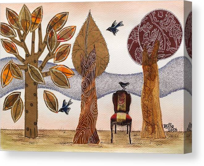 Trees Canvas Print featuring the painting Take A Rest In Autumn by Graciela Bello