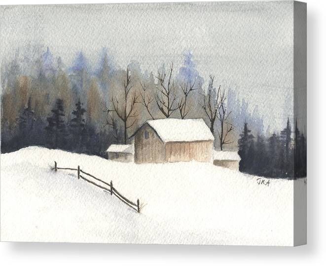 Barn Canvas Print featuring the painting The Barn by Jan Anderson