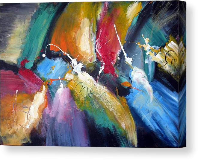 Abstract Colorfull Energetic Modern Contemporary Enlightening Canvas Print featuring the painting The Night Queen by Dan Bunea