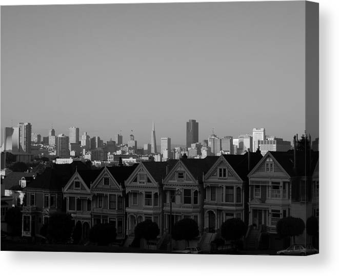 Architecture Canvas Print featuring the photograph The Painted Ladies by Sonja Anderson
